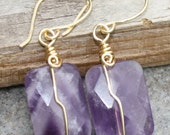 Earrings, Purple Amethyst Square Puff Faceted, Gemstone, Wire Wrapped - Handmade