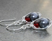 SALE- Gray Pearl Earrings, and Red Glass Rondelle, Wire Wrapped - Handmade