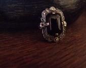 Antique onyx and marcasite ring - Art nouveau-art deco style - Est. 1920s vintage - Size 3.5