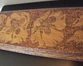 RESERVED - Long pyrography box art nouveau - Golde Pyro-Art box - 31 inches long - Very unusual & beautiful