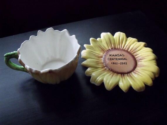 Kansas Centennial sunflower cup and saucer - 1961 - Cute and unusual