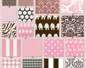 Custom Crib Bedding YOU DESIGN- Pink and Chocolate Brown