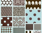 Custom Crib Bedding Set -Design Your Own (choose your fabrics)-  French Blue and Chocolate