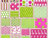 Custom Crib Baby Bedding-Choose Your Own Fabrics- Pink and Lime Pie