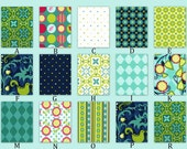 Custom Crib Bedding- Choose Your Own Fabric - Andalucia in Navy, Aqua and Turquoise