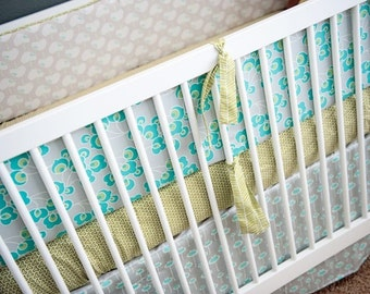 BUMPER and SKIRT -  2 Piece Crib Baby Bedding Set