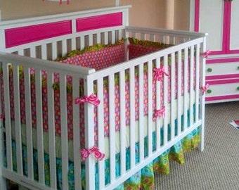 5 Pc. Crib Bedding Set YOU DESIGN - Bumper, Skirt, sheet, Quilt and Accent Pillow