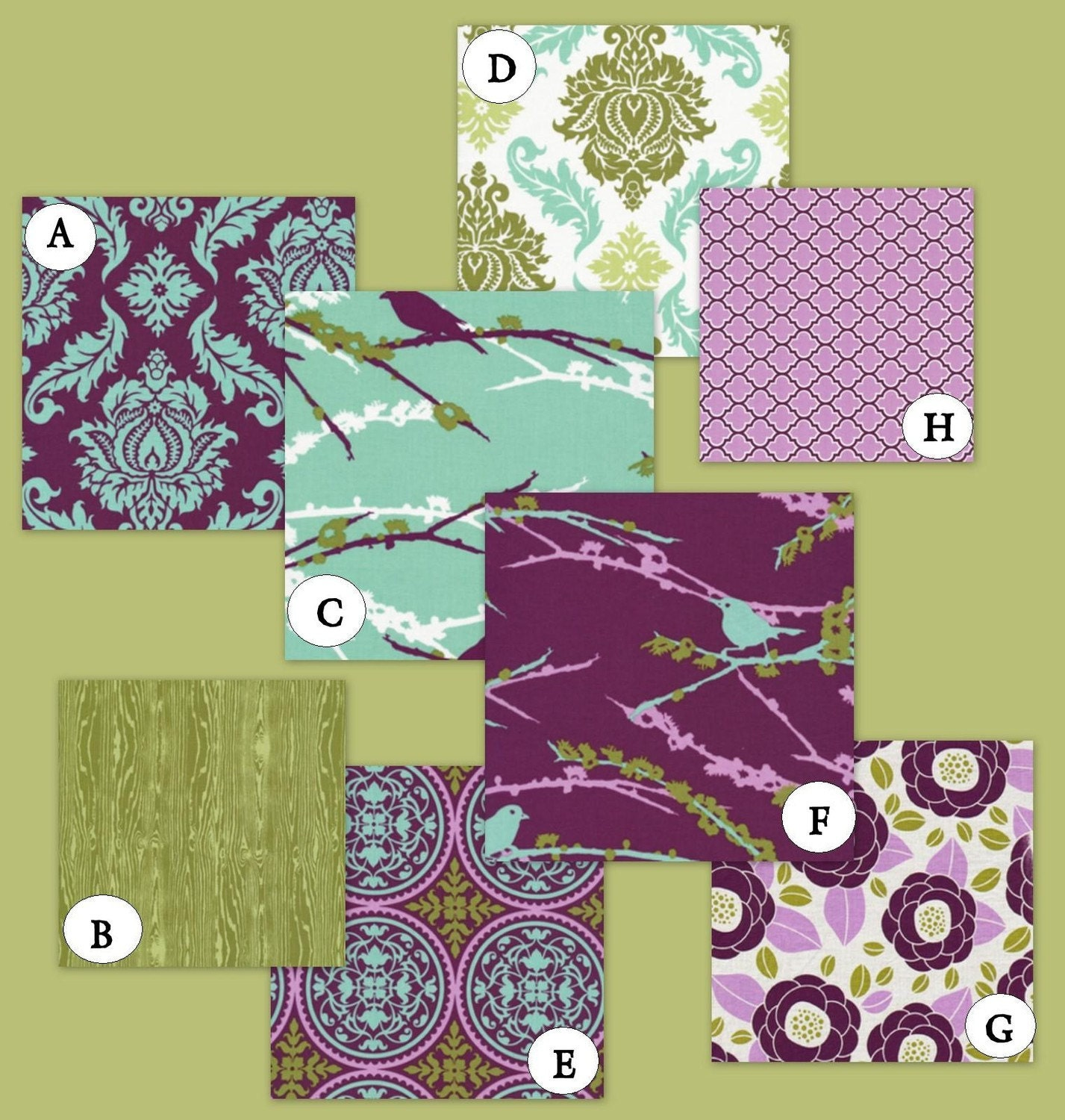 For purple and green bedding displaying 15 images for purple and green
