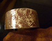 Tidal Pools,Brass originally textured cuff bangle in reclaimed metal  one of a kind artisan jewelry OOAK jewellery