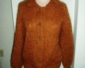 SALE Handmade Rust With Me Cardigan Lg-XL
