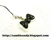 Black and white bow cell phone strap