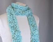 Crochet Scarf Long and Skinny Handmade Scarf Blue Lagoon
