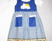 Girls Handmade Sundress / Jumper Size 12 to 14 Appliqued Peek a boo Sunshine and April Showers