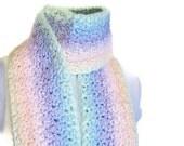 Crochet Scarf - Fairy Kei Fringed Handmade Pastel Rainbow Scarf