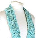 Skinny Aqua Scarf - Hand Crocheted Blue Lagoon Accent Scarf