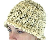 Crochet Hat - Natural Serenity Tweed Cloche in Silky Almond Yarn