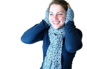 Hand Crochet Fringed Long Aqua Scarf and Wristwarmers - Tropical Waterfall for Woman