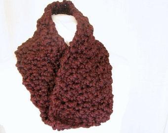 Handmade Crochet Burgundy and Black Chunky Moebius Cowl - Infinity Scarf for Adults, Unisex