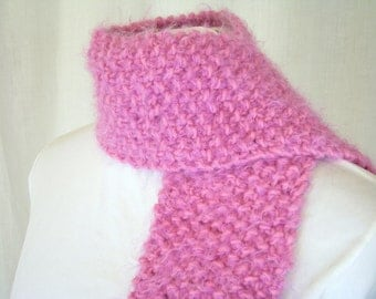 Hand Thick Knit Soft Pebbled Pink Scarf - Fashionable Scarves for Women