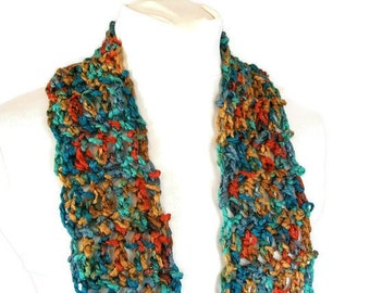 Fringed - Crocheted Fashion Scarf - Jewel Tone - Skinny Accent Scarflette for Adult Females
