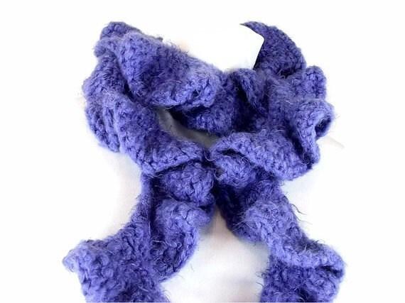 Handmade Crochet Scarf Blue Twisted Ruffles, Swirling Seas