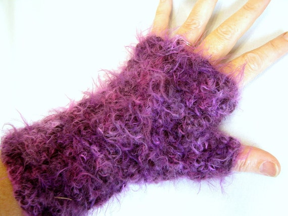 Handmade Crochet Fingerless Long Mitts - Fuzzy Purple Wristlets