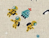 Japanese Cotton Linen Fabric - Space Walk - Fat Quarter - LAST PIECE