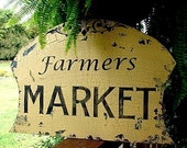 Farmers MARKET 16X23 Vintage Style Chippy Shabby Hand Painted and Handmade