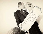 THANK YOU! WEDDING Signs, Wedding Decorations, 24x10 Photo Props for Thank You Notes *Double Sided*