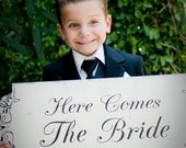 HERE Comes The BRIDE Wedding Signs Wedding Decorations Flower girl Ring Bearer 10X24