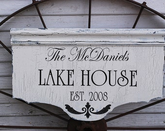 Custom LAKE or BEACH HOUSE sign, Cottage Chic Home Decoration 24x14