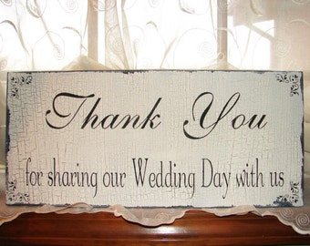 THANK YOU for sharing Wedding Signs Wedding Decorations Photo Prop 20x9