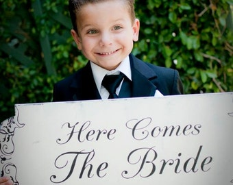 HERE COMES The BRIDE - Wedding Sign 24X10 - Ring Bearer / Flower Girl Sign- Wedding Signs- Single Sided Wedding Sign