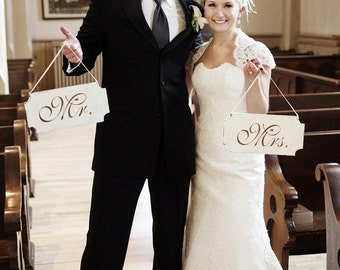 MR. AND MRS. Wedding Signs -set of 2 12x6- Chair Signs- Create your Wedding Photo Memory!
