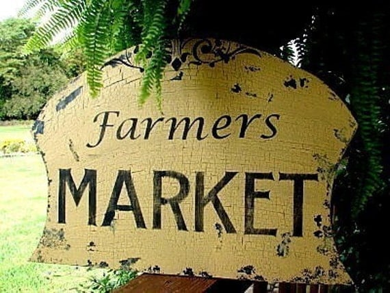 Cottage Signs Vintage Style 16X24 Farmers MARKET Vintage Style Chippy Handmade and Hand Painted
