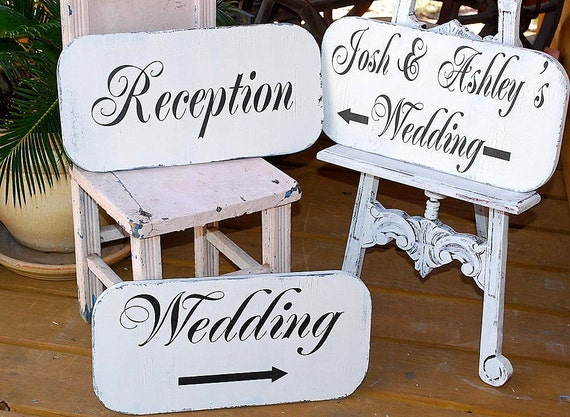CEREMONY / COCKTAILS / RECEPTION Wedding Signs Set of 3 w/ Arrows 15 x 7