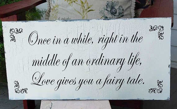 Once in a While Wedding Signs Decorations Cottage vintage 12x24 home decor