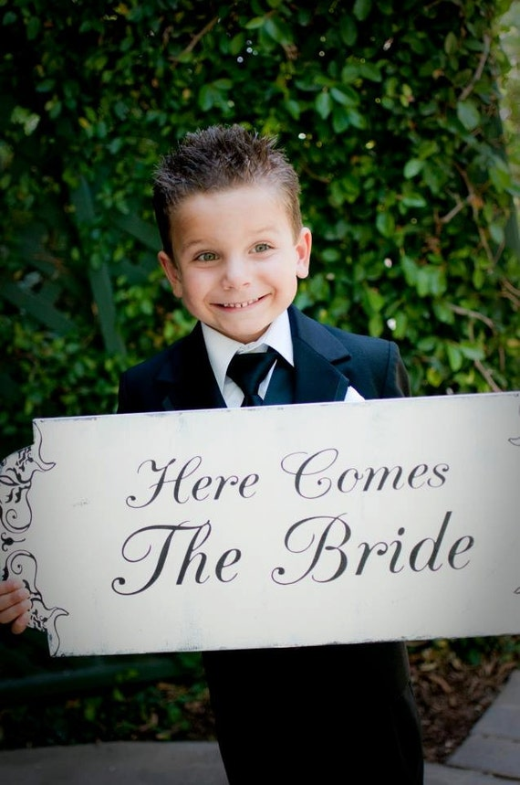 items similar to here comes the bride sign wedding sign reversible flower girl ring bearer 10x24. Black Bedroom Furniture Sets. Home Design Ideas