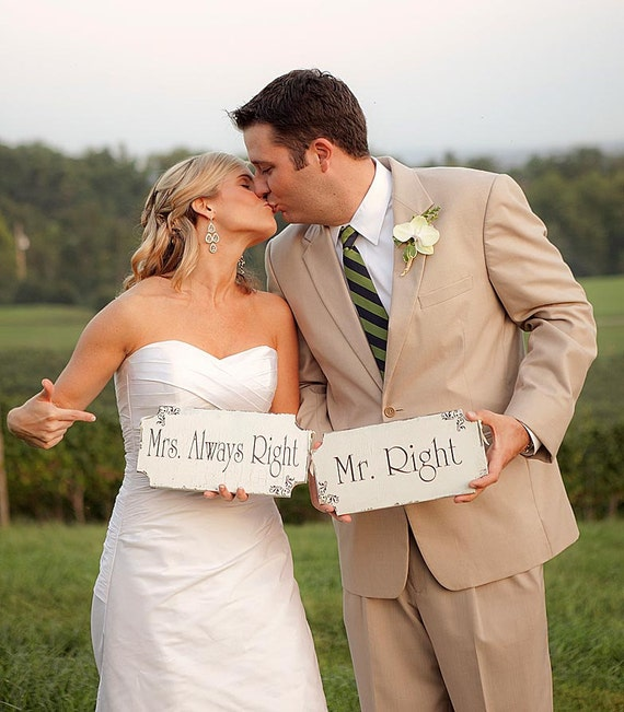MR Right MRS Always Right Wedding Signs Cottage Wedding Decorations 12X6 Set