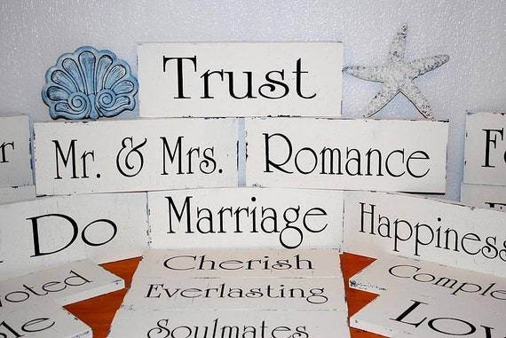 Custom Wedding Signs Decorations SELF STANDING Signs 12x4.5