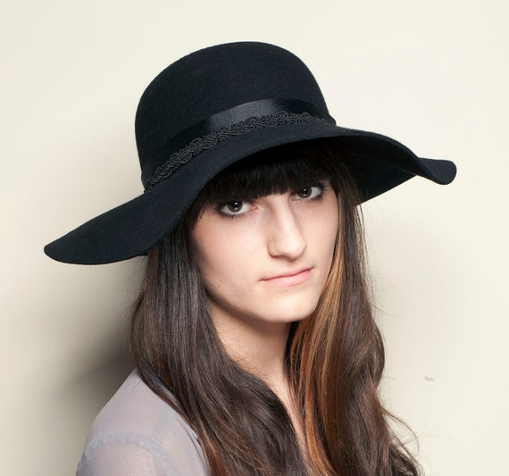 Classic Wide Brim Floppy Black Hat  with Jewel and Grosgrain Ribbon