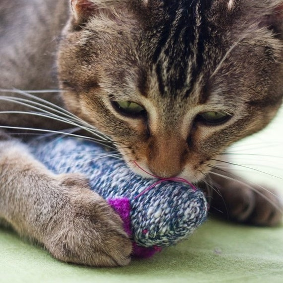 Large kicking mouse, organic catnip filled, crinkly sound, wool sock mouse,  cat toy,  assorted colors,