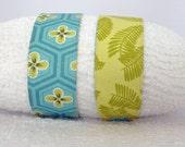 Fabric Headband Reversible Stretch Headband Blue Green Floral Leaf Print
