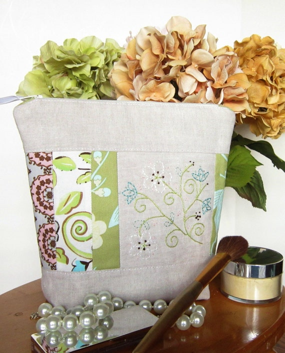Gift for Her Toiletry Cosmetic Pouch  Zippered Vinyl Lining One of a Kind Linen Hand Embroidered