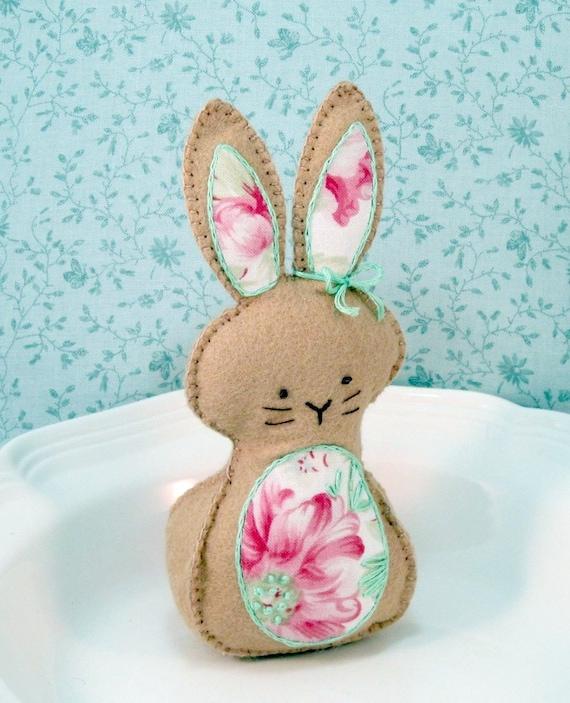 Small Stuffed Easter Bunny Wool