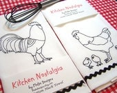 Retro-Style Rooster and Family - Embroidered Cotton Kitchen Towel Set - Blackwork