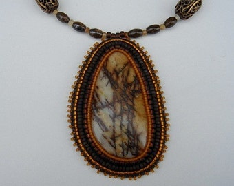 Study in Bronze Autumn Bead Embroidery Pendant Necklace