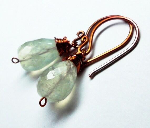 Green Prehnite Earrings Green Gemstone Earrings Rustic Copper Wire Wrapped Earrings Fall Fashion