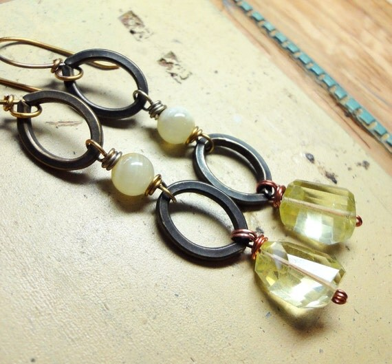 Lemon Quartz Dangly Earrings Long Yellow Gemstone Earrings Faceted Nugget Antiqued Brass Bold Rustic Wire Wrapped Jewelry