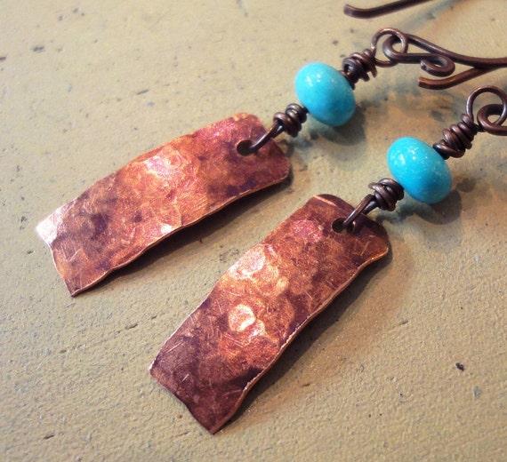 Turquoise Gemstone Earrings Textured Copper Earrings Rustic Southwestern Jewelry Blue Gemstone Earrings Fall Fashion Jewelry